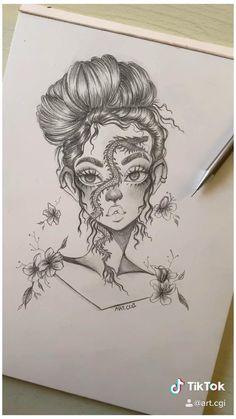 Art Drawings Beautiful, Dark Art Drawings, Art Drawings Sketches Simple, Pencil Art Drawings, Doodle Drawings, Cute Drawings, Unique Drawings, Graffiti Drawing, Amazing Drawings