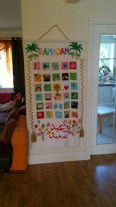 Ramadan kids calendar Eid Crafts, Ramadan Crafts, Ramadan Decorations, Islam Ramadan, Ramadan Mubarak, Vegetable Crafts, Eid Quotes, Ramadan Celebration, Islamic Celebrations