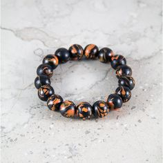 Black-orange polymer clay bead bracelet  for Man by VonGrega