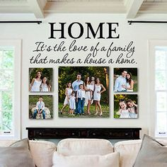 Family Wall Decal Quote- by Decor Designs Decals, Home Quote - Kitchen Decals - Vinyl Lettering- Bedroom Decor- Love of a Family- Inspirational Quote - Wall Decals Home It's the Love of a Family That Makes a House a Home Quote Vinyl Wall Decal Sticker Family Pictures On Wall, Family Photos, Family Wall Decor, Family Room, Quote Family, Kitchen Decals, Memory Wall, Wall Decal Sticker, Photo Canvas