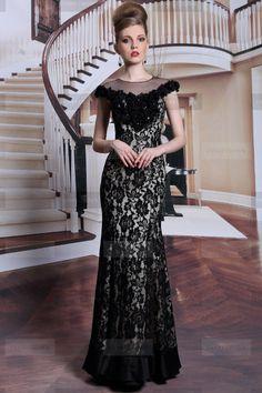 Charming High neck Long Black Evening Dress | Fanny Crown