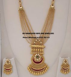 You Deserve exclusive designs. Presenting a very beautiful set with finest finishing. Stunning gold multi layer gold ball chains long haaram with matching earrings. Visit for latest collection. Gold Jewelry Simple, Gold Wedding Jewelry, Bridal Jewellery, Antique Jewellery Designs, Jewelry Design, Indian Gold Jewellery Design, Indian Jewelry, Antique Jewelry, Gold Mangalsutra Designs