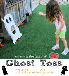 Ghost Toss Halloween Game - Simple to make using foam core board and balloons. Perfect for a Halloween party!