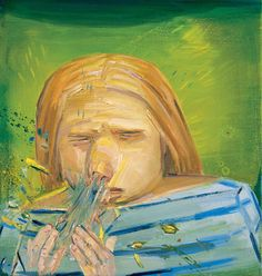 Dana Schutz - Sneeze Painting, painterly painting that is, can be an extravagantly inclusive mix of philosophy, step aerobics and food fight. The wide world wades onto the canvas, from shit to palm fronds, chutney and toe shoes; toddler antics combine with the vast, turbulent prehistory of the race. Such works are lumpy with personality, glazed though they may be with the pale cast of thought.