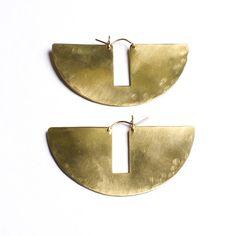 Semi-circle flattened bronze earrings
