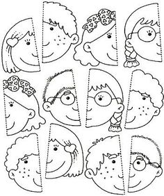 Use this for my younger students in the style of the puzzle piece group project.kinder, blank faces have students draw themselves and color or paint with watercolor? Preschool Learning, Kindergarten Worksheets, Preschool Activities, Teaching, Folder Games, Kids Education, Toddler Activities, Kids And Parenting, Art For Kids