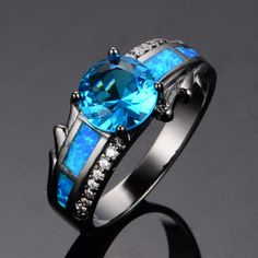 Anel zircon Blue sapphire fine jewelry 14KT Black Gold Filled Wedding Rings for women 2015 new summer jewelry stone ring