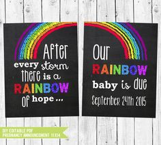 A personal favorite from my Etsy shop https://www.etsy.com/listing/225288813/rainbow-baby-pregnancy-announcement