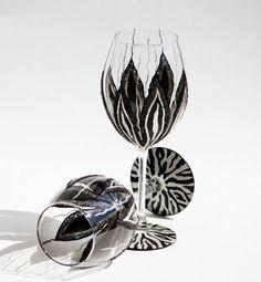 Zebra Wine Glasses Hand Painted Black and White by NevenaArtGlass