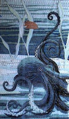 Sandra Bryant octopus - ocean- sea creature mosaic - under water Mosaic Tile Art, Mosaic Artwork, Mosaic Glass, Glass Art, Pebble Mosaic, Stained Glass, Mosaic Pots, Mosaic Garden, Mosaic Designs