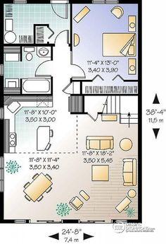 Plan de Rez-de-chaussée Chalet de style A-Frame avec mezzanine et plafond cathédral, plan d'inspiration scandinave - Whiskey Jack