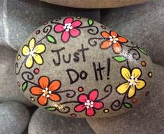 Hand-painted, one-of-a-kind Happy Rock - Just Do It! This beautiful rock was found on the coast of Maine. No two rocks are alike - nature intended it that way! They are oddly shaped and have spots and holes and cracks and variations in color and each one is beautiful! Happy Rocks