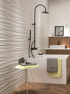 Buy online wall design ribbon By atlas concorde, white-paste wall cladding, wall design Collection 3d Tiles Bathroom, 3d Wall Tiles, Decorative Wall Tiles, Room Tiles, Bathroom Styling, Bathroom Interior Design, Wall Decor Design, 3d Wall Panels, Wall Cladding