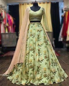 Printed lehenga / pista color lehenga / readymade blouse / lehenga choli for women / skirt / wedding lehenga / ghaghra choli / lehenga Lehenga Choli, Blouse Lehenga, Floral Lehenga, Lehnga Dress, Indian Lehenga, Lehenga Skirt, Green Lehenga, Anarkali, Sarees