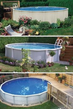 Check out some pictures of customer built decking (full decking) around there above ground pool! Here you can get an idea of what your backyard can become! #abovegroundpooldeckandlandscapingideas