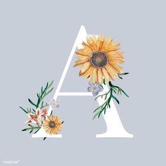 Sunflower Illustration, Illustration Blume, Watercolor Background, Watercolor Flowers, Vintage Floral Backgrounds, Alphabet Wallpaper, Flower Alphabet, Floral Letters, Floral Font