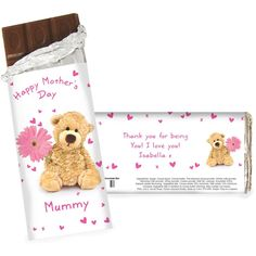 Personalise this Teddy Flower Chocolate bar with 2 lines of 15 characters each and a name up to 12 characters on the front of the bar, and personalise the back with 3 lines of 20 characters each for a personal message.  Milk Chocolate Bar 15cm x 7cm x 1cm Weight 100g May contain traces of nuts  Our great value chocolate includes free standard delivery.  NOTE: Due to the font type used please refrain from using all capitals in your personalised message. If the message is all in capitals you…