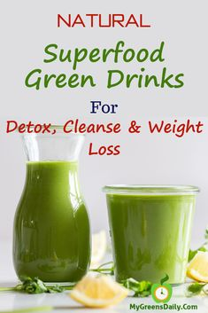 Natural Superfood Green Drinks for Detox, Cleanse and Weight Loss. Stomach Detox, Liver Detox, Skinny Stomach, Healthy Detox, Healthy Drinks, Healthy Smoothies, Smoothie Recipes, Healthy Recipes, Weight Loss Detox