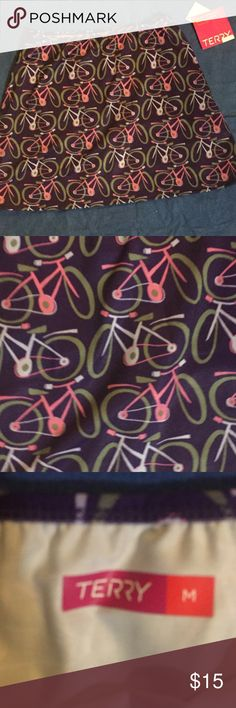 Bicycle print skirt Terry Medium Terry medium skirt in bicycle print. Made of exercise stretchy material. NWT. Hem comes to about an inch and a half above my knees. terry Skirts