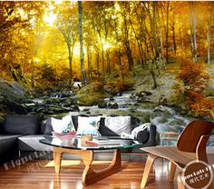 Encargo de la foto fondos de pantalla, otoño paisaje del bosque para el dormitorio sala de estar TV pared de fondo impermeable papel de parede