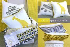 citron/gray animal applique pillows @Rachel McCracken, these coordinate with your fabric!  Way cute!