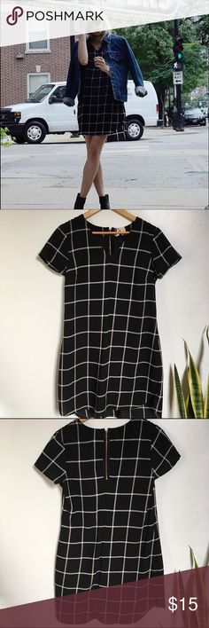 Black slouchy grid dress American Apparel styles grid dress. Fits baggy. Super cozy and easy to style. Dresses