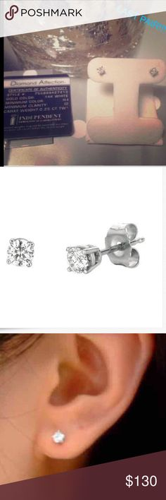$799 GENUINE NATURAL DIAMOND 14K STUDS $799 Genuine 1/4cttw Round Brilliant NATURAL Diamond (natural refers to genuine real diamonds for those who do not know)14K Solid White Gold Studs.....Brand is DIAMOND AFFECTION Jewelry Earrings