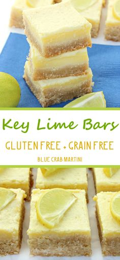 Key Lime Bars that are gluten free + grain free + contain no refined sugar! Plus they are totally nom-nom-alicious! #glutenfree #grainfree #paleo | Blue Crab Martini