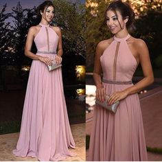 Sexy Halter Long Pink Prom Dresses 2018 New Arrival Hollow Out A Line Chiffon Evening Dresses Cheap Red Carpet Formal Party Gowns Pink Evening Dress, Chiffon Evening Dresses, Chiffon Dress, Evening Gowns, Chiffon Fabric, Dress Skirt, Plus Size Prom Dresses, Backless Prom Dresses, A Line Prom Dresses