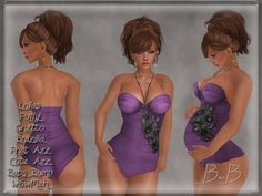 ::BnB:: O'ahu swimsuit~VIOLETTE~with jewelry,Lolas/Puffy!, ALL in ONE HUDS for Ghetto/PhatAzz/Brazilia/BabyBump/WowMeh