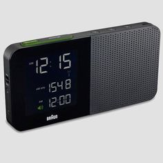 Thanks to Dieter Rams, Braun's classic travel alarm clock is still considered an icon of design. And while the company's newest digital alarm clocks might not be as revered one day, they're still a beautiful object to wake up too. Digital Table Clock, Digital Clock Radio, Radios, Travel Alarm Clock, Radio Alarm Clock, Vintage Design, Retro Design, Modern Design, Le Manoosh