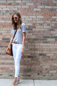 White denim, grey T, cognac colored cross body, silver heels.