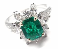 VINTAGE TIFFANY & CO IRID PLATINUM DIAMOND EMERALD COCKTAIL RING