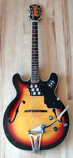 ST MORITZ Stereo Hollowbody 1960 Sunburst   The St Moritz is an extremely rare and unique instrument for it's six individual pickups and stereo operation. This guitar sports one tiny, chrome bezeled pickup per string!! As each pickup naturally picks up a bit of each adjacent string, the guitar delivers a full, chimey tone that has a faint chorusing effect and a unique sound to be sure.   Reverb
