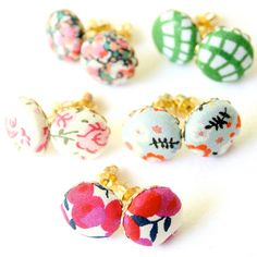 Calico Fabric Covered Button Earrings by NestPrettyThingsShop