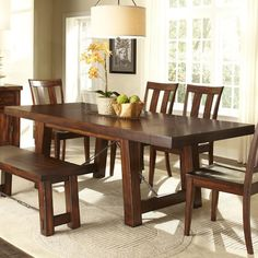 Liberty Furniture Tahoe Trestle Table with Iron Support Stretcher and Turnbuckle Details