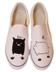 Sweet Black White Pigs Canvas Rubber Sole Painted Shoes - Milanoo.com