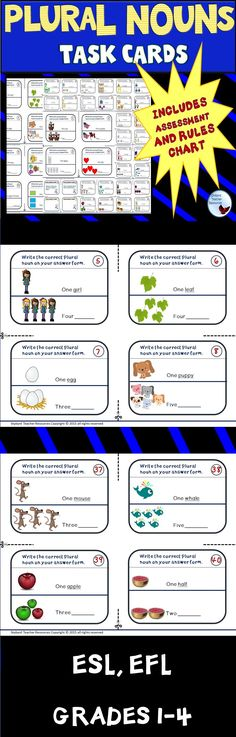 Task Cards;  Plural Nouns for Literacy Centers, ESL, EFL, Lessons, Teaching, Independent Practice, Homework