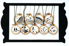 Silhouette Necklace Collection by Loadofolbobbins  (Hand Embroidery)