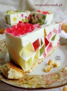 Jogurtowiec z galaretkami   Oryginalny smak Jello Recipes, Cookie Desserts, Cake Cookies, Vanilla Cake, Nutella, Sweet Tooth, Cheesecake, Pudding, Foods