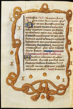 A leaf from the Book of Hours of Ladislaus IV Vasa (147) by circle of Simon Marmion and Anonymous from France, 1460s and early 16th century (PD-art/old), Biblioteka Czartoryskich, the initial I, the double cordeliere of the royal Order of Saint Michael and the shell of Saint James the Greater were made for noble close to the French crown named Jacques in the early 16th century