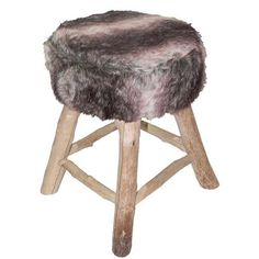 Tabouret BILLY fausse fourrure