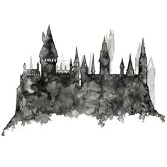 "impresión de acuarela Original, ""Silueta de Hogwarts Harry Potter,... ($413) ❤ liked on Polyvore featuring backgrounds, fillers, harry potter, hogwarts and home"