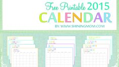 2015 monthly calendar printable