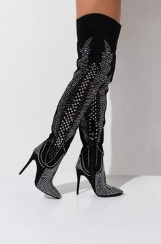 Details about  /Women High Heel Mid Calf Boot Stiletto Pump Pointed Toe Stretch Fall New Shoes D