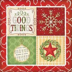Great Big Canvas 'Christmas Art 'Good Tidings' by Jennifer Pugh Graphic Art Print Format: White Frame, Size: H x W x D Christmas Scenes, Christmas Images, Christmas Art, Christmas Squares, Frames For Canvas Paintings, Canvas Art, Big Canvas, Canvas Size, Christmas Coasters