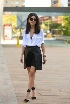 A pencil skirt and tee with statement sandals | 43 Chic Summer Outfits That Are Perfect For 30-Somethings | POPSUGAR Fashion UK Photo 3
