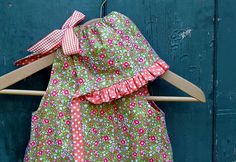 Shortcake Reversible Romper (with Ruffle Bonnet - free pattern and tutorial)