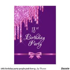 Shop birthday party purple pink bow glitter drip invitation created by Thunes. 30th Birthday Party For Her, 21st Birthday Invitations, 80th Birthday, Birthday Accessories, Glitter Invitations, Bow, Purple, Pink Glitter, Luxury