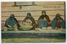 Basket Maker Seller Women Native American Sitka Alaska 1910c postcard